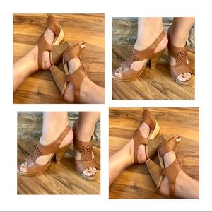 Seychelles Leather T Strap Chunky Heels, 7.5 FAB